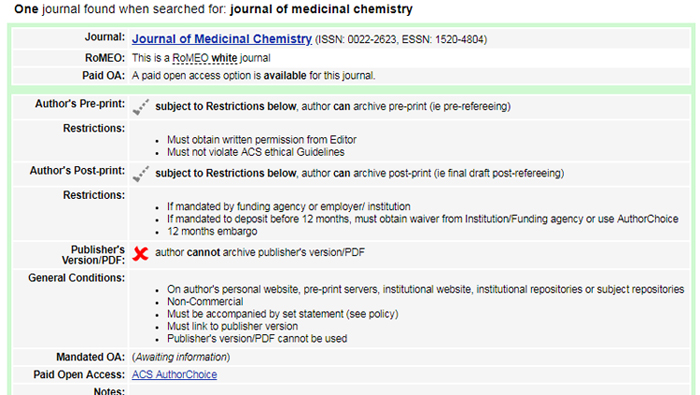 Xρήσιμη περίληψη των πολιτικών για τα πνευματικά δικαιώματα και την αυτο-αρχειοθέτηση για το περιοδικό Journal of medicinal chemistry