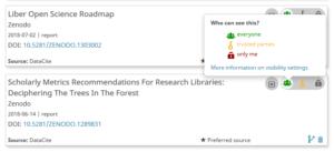 Screenshot των visibility settings